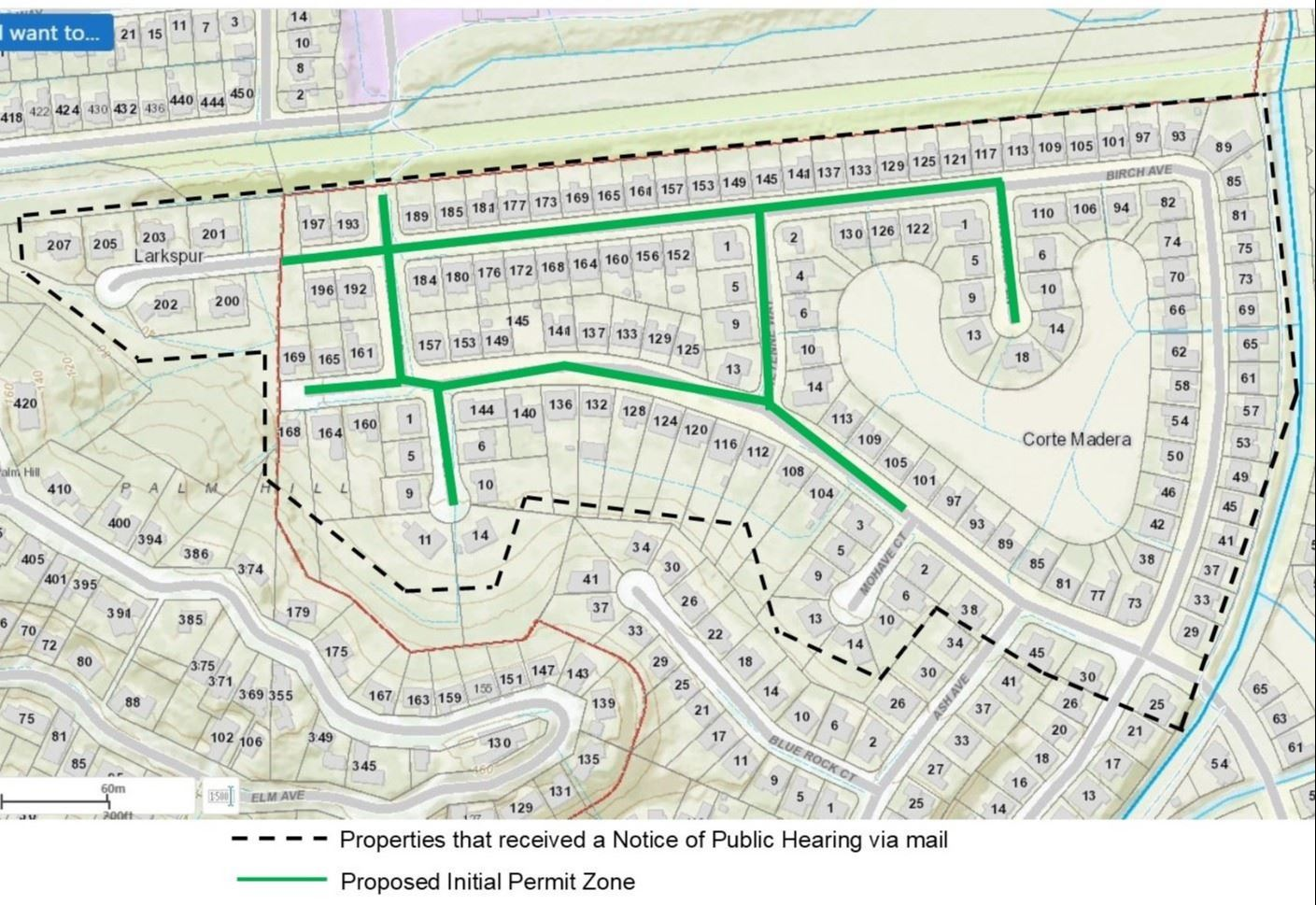 Madera Gardens Map of Permit Zone